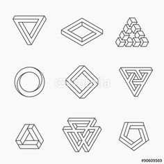 Vector: Set of impossible shapes, vector, line design Hand Logo, Geometry Art, Sacred Geometry, Geometric Designs, Geometric Shapes, Impossible Shapes, Impossible Triangle, Grafik Design, Line Design