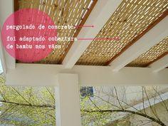 pergolado concreto com cobertura adaptada de bambu entrelaçado  http://www.moradabacana.com/2013/09/pergolado.html