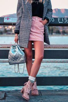 Frye pink combat boots + pink corduroy mini skirt