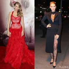 lake Lively wore two equally glorious Monique Lhuillier pieces at 'The Age of Adaline' premiere carpet and after party. Love love love the way she paired an oversized blazer with her sheer bodysuit.