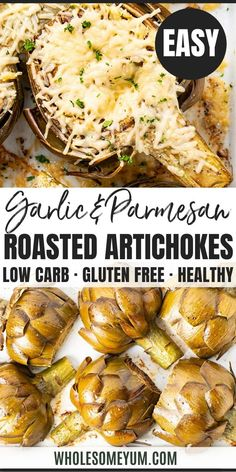 Easy Roasted Artichokes Recipe With Garlic & Parmesan - The easiest, most delicious method for how to roast artichokes! These roasted artichoke halves are seasoned simply with lemon, garlic and olive oil, and finished with a layer of parmesan. Keto Veggie Recipes, Garlic Recipes, Vegetable Recipes, Low Carb Recipes, Real Food Recipes, Great Recipes, Cooking Recipes, Favorite Recipes, Popular Recipes