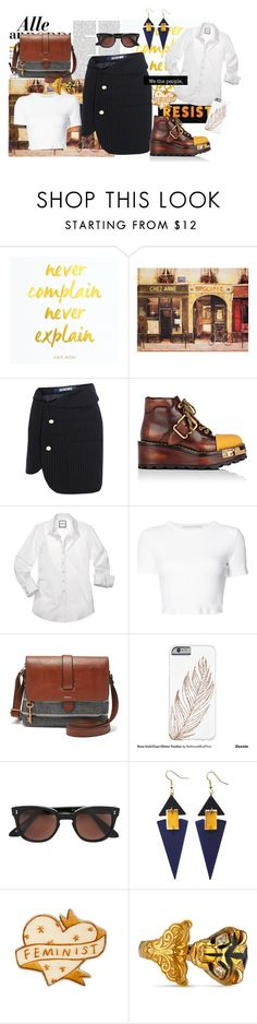 """""""Untitled #785"""" by annaruto ❤ liked on Polyvore featuring Nicki Minaj, Jacquemus, Prada, Rosetta Getty, FOSSIL, Lesca, Toolally, Gucci and pinstripeskirt"""