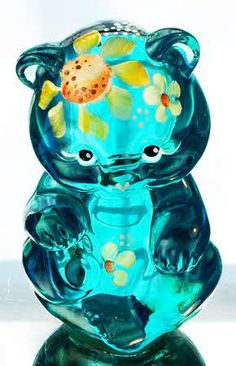 Fenton Hand Painted Sitting Bear in Robins Egg Blue ~ I collect these <3