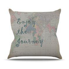 "Catherine Holcombe ""Journey"" World Map Throw Pillow"