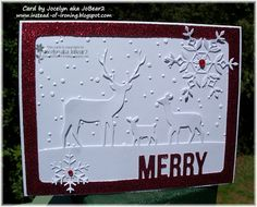 by - Cards and Paper Crafts at Splitcoaststampers Christmas Deer, Handmade Christmas, Christmas Cards, Xmas, Memory Box Cards, Christmas Challenge, Embossed Cards, Winter Cards, Card Tags