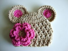 Baby Girl Crochet Hat wih Ears and Flower - Light Brown and Pink - Made to Order - Newborn, Infant, Toddler, and Girl Sizes Available. $14.99, via Etsy.