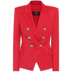 Balmain Wool-Blend Blazer ($1,875) ❤ liked on Polyvore featuring outerwear, jackets, blazers, red, wool-blend blazer, red blazer, red blazer jacket, balmain blazer and blazer jacket
