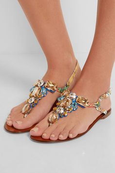 Dolce & Gabbana|Portofino embellished printed patent-leather sandals|NET-A-PORTER.COM