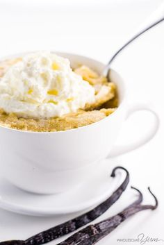 This easy vanilla mug cake recipe is decadently delicious and takes just 5 minutes! You won't believe it's paleo, low carb, keto, and gluten-free.