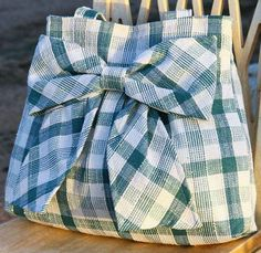 Teal Plaid Bow Bag Purse w/ Double Handles. , via Etsy.
