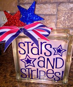 Stars and Stripes Lighted Glass Block 4th of July