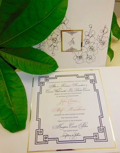 Letterpressed orchid invitation with gold flecked accents xo embellishments