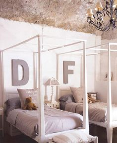 love the large letters over the beds
