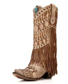 Corral studs and fringe cowboy boots