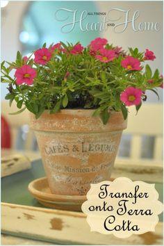 Easy french inspired transfer art onto TerraCotta Pots!