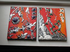 Fire Garden Original Paintings Set of 2 by anndsart on Etsy, $25.00