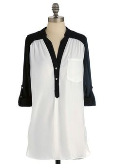 Pam Breeze-ly Tunic in Black and White, #ModCloth