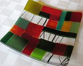 Fused Glass Plate, Modern Mosaic in Red, Amber, Black, and Green, Christmas Glass Plate, Glass Mosaic Plate