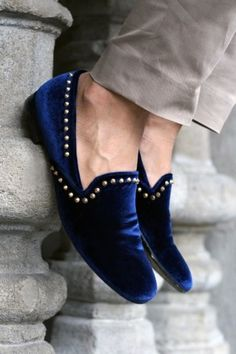 Crush velvet Navy Espadrilles Shoes