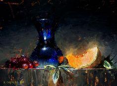 Blue Glass by David Cheifetz Oil ~ 9 x 12