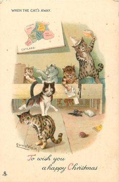 WHEN THE CAT'S AWAY (1903) Louis Wain