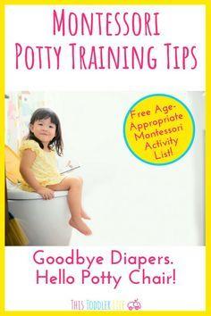 Montessori Potty training tips. Teach your toddler to potty train the Montessori way! Montessori Books, Montessori Preschool, Montessori Elementary, Toddler Preschool, Preschool Activities, Potty Training Girls, Potty Chair, List Of Activities, Raising Kids