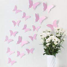 gelb NEU Wandtattoo Schmetterlinge 3D Style zur Wanddekoration 24 STÜCK im Set