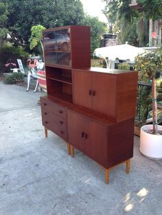 Danish modern teak five piece modular cabinet set