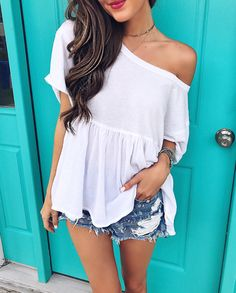 Free People tee - I love how its worn off the shoulder!