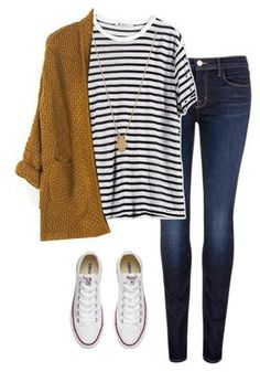 #fall #outfits / Stripes + Knitted Cardigan