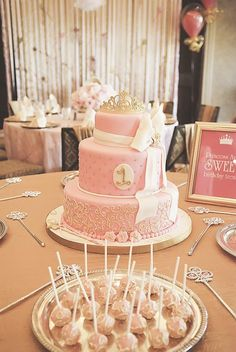 Pink & Gold Princess first birthday party by P is for Party
