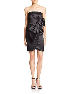 MILLY Duchesse Satin Bow Cocktail Dress - Black - Size