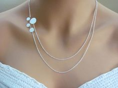 Modern Circles Asymetrical Double Strand Necklace- sterling silver filled, elegant everyday jewelry--LOVE LOVE LOVE