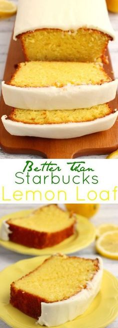If you like Starbucks Lemon Loaf, then you'll love this moist, delicious Lemon cake! This easy to make recipe, is loaded with delicious lemon flavor, and topped with an amazing lemon frosting. Im obsessed with starbucks lemon cake Lemon Desserts, Lemon Recipes, Just Desserts, Sweet Recipes, Baking Recipes, Dessert Recipes, Lemon Cakes, Easy Lemon Cake, Krusteaz Recipes