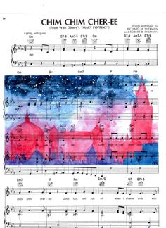 This is a repurposed sheet music page featuring Walt Disneys Mary Poppins. Image is a copy of an original hand painted watercolor printed on the