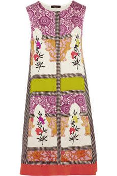 Vineet Bahl Embroidered printed crepe de chine and satin dress | NET-A-PORTER