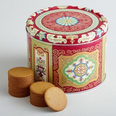 One of my favorite discoveries at WorldMarket.com: Nyåkers Gingersnap Tin   BTW, I found out that they are good for upset tummies, too!!  Medicine within a treat!