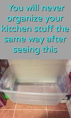 Kitchen storage idea- like this idea if you put them under the sink and put the cleaning products in a closet away from the kids. Good ideas in the comments too.