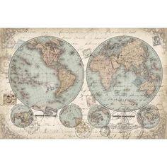 World Hemispheres landscape Canvas Art - Tre Sorelle Studios (12 x 18)