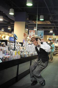"Bill Irwin, Fye Music Store  from Jordan Matter's photography series ""Dancers Among Us"""