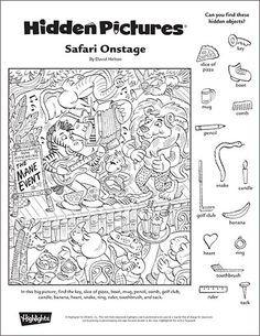 """Safari Onstage"" A Printable Hidden Pictures Puzzle"