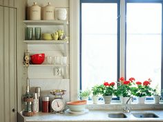 How to showcase your dinnerware in open storage cabinets.