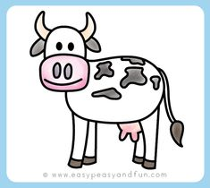 How to Draw a Cow - Step by Step Cow Drawing Instructions (Kids and Beginners) - Easy Peasy and Fun Cow Cartoon Drawing, Cow Drawing Easy, Toddler Drawing, Cartoon Cow, Easy Drawing Steps, Cartoon Kids, Drawing For Kids, Easy Drawings, Easy Cartoon Drawings