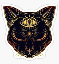 Egyptian Cat with Third Eye Open Sticker by MagneticMama Cat tattoo Egyptian Cat Tattoos, Egyptian Cats, Egyptian Symbols, Egyptian Cat Goddess, Egyptian Drawings, Bastet Tattoo, Tattoo Gato, Bild Tattoos, Body Art Tattoos