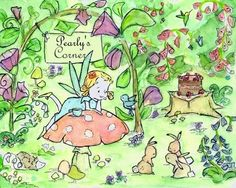 Nursery Art -- Little Fairy Land  Personalize Your Corner Blonde 8x10 -- Art Print. $20.00, via Etsy.