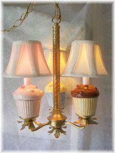 Cupcake Chandelier in Gold by Angelheartdesigns on Etsy, $240.00