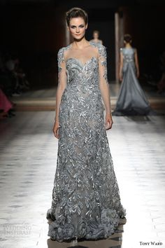 tony ward couture fall winter 2015 2016 look 11 gray illusion long sleeve gown embroidery