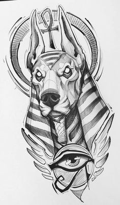 Dark Art Drawings, Tattoo Design Drawings, Pencil Art Drawings, Art Drawings Sketches, Tattoo Sketches, Animal Drawings, Egypt Tattoo Design, Egyptian Tattoo Sleeve, Egyptian Drawings