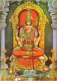 Maa Kamakshi -- The goddess Kamakshi is a form of Tripura Sundari or Parvati or the universal mother goddess. Divine Mother, Mother Goddess, Tanjore Painting, Vedic Astrology, Shiva Shakti, Goddess Lakshmi, Hindu Deities, God Pictures, Hindu Art