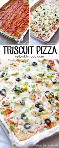 Triscuit Pizza - A healthy snack, lunch, or Game Day appetizer! I've made triscuit nachos before too, also yummy! Appetizer Recipes, Snack Recipes, Appetizers, Cooking Recipes, Healthy Snacks, Healthy Recipes, Snacks Für Party, Football Food, Game Day Food